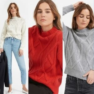 Everlane The Cable Mockneck Red Sweater Small